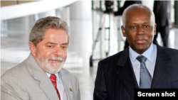 Arquivo: Ex-Presidente do Brasil, Lula da Silva (esq) com ex-Presidente de Angola, José Eduardo dos Santos