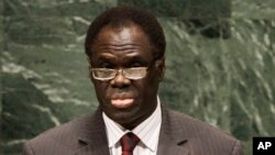 FILE - Michel Kafando, as Chairman of the Delegation of Burkina Faso, addresses the 65th session of the United Nations General Assembly at U.N. headquarters, Sept. 28, 2010, in New York.