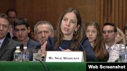 Zvaničnica Sekretarijata za finansije Sigal Mendelker svedoči u Kongresu (arhivski snimak)