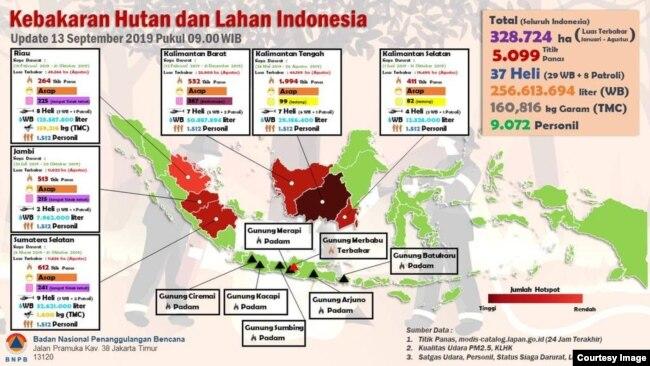 Peta sebaran bencana kebakaran hutan dan lahan BNPB, Jumat, 13 September 2019 pagi. (Foto: BNPB)