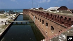 Fort Jefferson occupies one of the seven islands in the Dry Tortugas National Park, in the Florida Keys