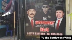 Posko Pemenamgan Calon jalur Perseorangan atau Independen di Solo, Bagyo Wahyono- FX Supardjo, Rabu (2/9). (Foto: VOA/ Yudha Satriawan)