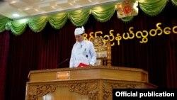 ဒုတိယအႀကိမ္ ရခိုင္ျပည္နယ္လႊတ္ေတာ္စတင္က်င္းပစဥ္။ (Shwe Myitmakha Media Group) ေဖေဖၚ၀ါရီ ၈ ရက္