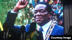 FILE: Zimbabwean President Emmerson Mnangagwa calls on veterans to play a central role in the legislative and presidential election campaign scheduled for late August, Harare, 11 May 2018. (Twitter / President of Zimbabwe)