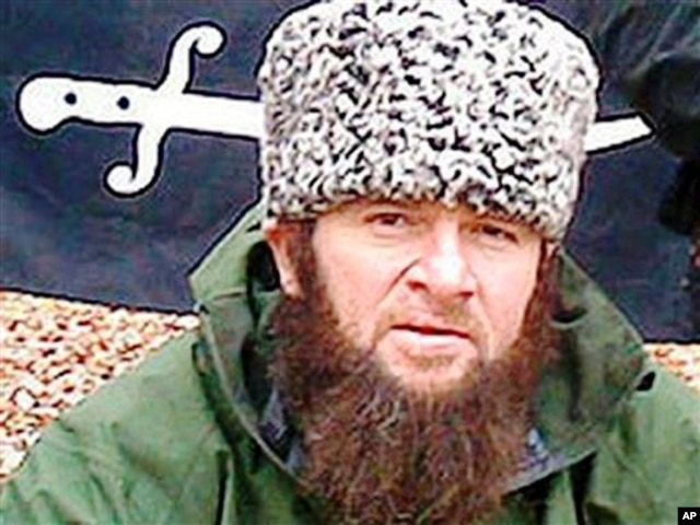 In a screen shot taken in Moscow, a computer screen shows an undated photo of a man identified as Chechen separatist leader Doku Umarov posted on the Kavkazcenter.com site.