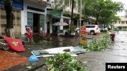 지난 2014년 베트남 북부 태풍 피해 당시 몽카이 시내 모습. (자료사진)
