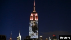 纽约帝国大厦星期六晚间投影津巴布韦狮王塞西尔的图像(2015年8月1日)