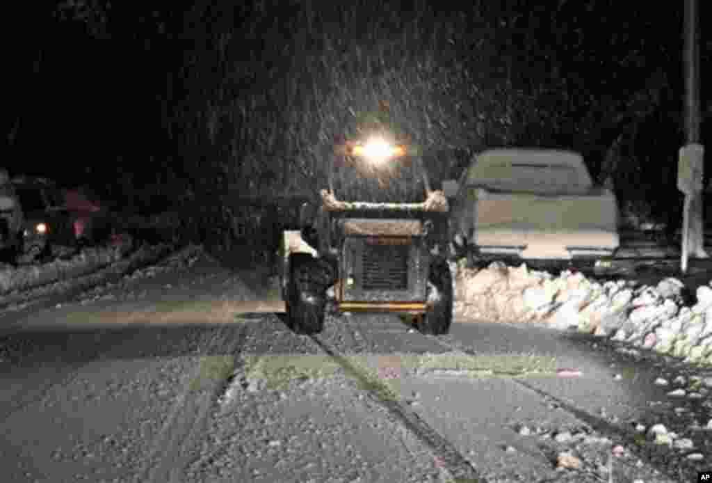 Sandy tambien trajo nieve a Elkins, West Virginia el martes 30 de octubre.
