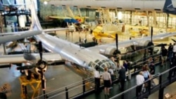 "The B-29 Superfortress that dropped the atomic bomb on Hiroshima, Japan, shown at the Smithsonian Air and Space Museum's Steven F. Udvar-Hazy Center in Chantilly, Virginia, in 2005. Paul Tibbets, the pilot, named it ""Enola Gay"" in honor of his mother."