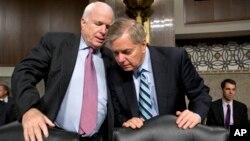 参议院军事委员会成员麦凯恩和格拉汉姆