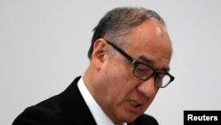 Chủ tịch Tập đoàn Toray Hybrid Cord Nobuhiro Suzuki dự phiên họp báo tại Tokyo ngày 28/11/2017.
