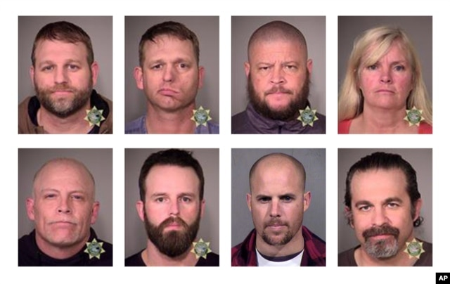 These photos provided by the Multnomah County Sheriff's Office and the Maricopa County Sheriff's Office show eight people involved in the occupation of the headquarters of the Malheur National Wildlife Refuge in Oregon, who were arrested Jan. 26, 2016. To