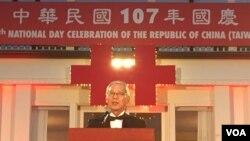 台湾驻美代表处高硕泰在双橡园双十国庆活动上讲话 (钟辰芳拍摄)