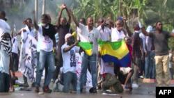 Masu zanga zanga a birnin Libreville na kasar Gabon