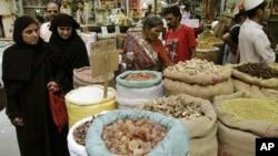 Shoppers at a market in Ahmadabad, India.
