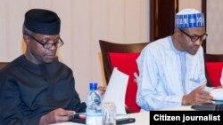 Shugaba Muhammad Buhari da mataimakinsa