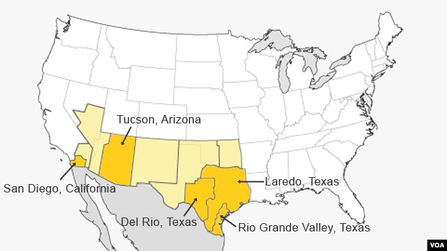 The top five areas in 2013 for migrants crossing into the U.S.: 1. Rio Grande Valley, Texas; 2. Tucson, Arizona; 3. Laredo, Texas; 4. San Diego, California; 5. Del Rio, Texas. Source: U.S. Customs and Border Protection