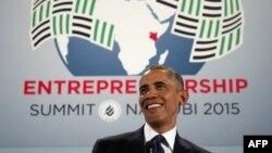Tổng thống Mỹ Barack Obama phát biểu tại Hội nghị Thượng đỉnh Kinh doanh Toàn cầu ở Nairobi, 25/7/2015.