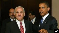 美國總統奧巴馬(右)和以色列總理內塔尼亞胡(左)。(資料圖片)