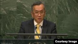유엔주재 일본대표부의 미나미 히로시 차석대사가 14일 유엔총회 회의에서 연설하고 있다.