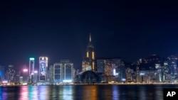 2021新年來臨前夜的香港維多利亞港。