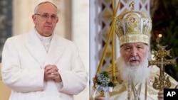 프란치스코 로마 가톨릭 교황(왼쪽)과 러시아 정교회의 키릴 총대주교. (자료사진)