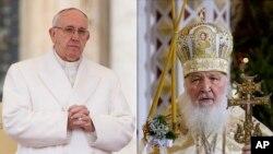 Papa Francisco (esquerda) e Patriarca Kirill (direita),