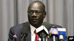 South Sudan Information Minister Michael Makuei, shown here in January 2014, says Juba will not accept troika mediators at peace talks.