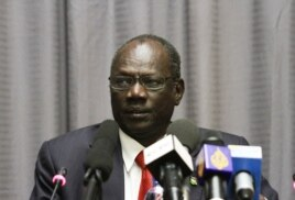 FILE - South Sudanese information minister, Michael Makuei Lueth attends a press conference in Addis Ababa, Jan. 5, 2014.