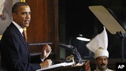 US President Barack Obama delivers a speech at Parliament House in New Delhi.