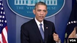 باراک اوباما رئیس جمهوری ایالات متحده در نشست مطبوعاتی پایان سال در کاخ سفید - جمعه ۲۸ آذر ۱۳۹۳