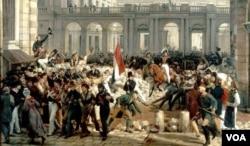 描绘法国大革命的图画。德古热死于法国大革命中罗伯斯庇尔政权的恐怖统治,但中国理论家张维为似乎暗示德古热是因其女子宣言而被杀。