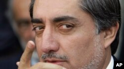 Abdullah Abdullah, former Afghan Foreign Minister, gestures during a press conference in Kabul, Afghanistan, (File photo).