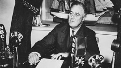 "President Franklin Roosevelt during a ""Fireside Chat"" broadcast in Washington, DC"