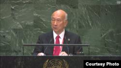 고로 벳쇼 유엔주재 대가 9일 국제원자력기구(IAEA) 연례보고서를 주제로 열린 유엔총회 회의에서 발언하고 있다. United Nations.