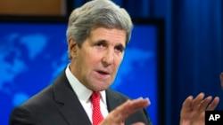 美國國務卿克里7月28日在國務院的年度國際宗教自由報告發佈會上發表講話。