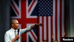Presiden AS Barrack Obama berbicara di Lindley Hall di London, Inggris, 23 April 2016.