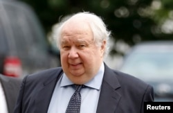 FILE - Russian Ambassador to the U.S. Sergei Kislyak arrives at the State Department in Washington, July 17, 2017.