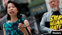 FILE - Local Democratic leader Jenny Low speaks at a rally against Asian hate crime following an unprovoked attack on an Asian woman, in Manhattan's Chinatown district in New York City, June 2, 2021.