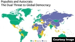 "A screen shot from the 2016 report by Freedom House titled ""Populists and Autocrats: The Dual Threat to Global Democracy,"" Jan. 31, 2017."