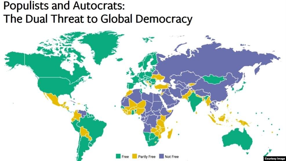 Theo báo cáo 'Tự do trên thế giới 2017', có 195 nước được đánh giá, 87 nước được xếp hạng có tự do, 59 nước tự do phần nào và 49 nước không có tự do.