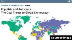 "Laporan Freedom House 2017 bertajuk ""Populists and Autocrats: The Dual Threat to Global Democracy,"" 31 Januari 2017. (Foto: dok)."