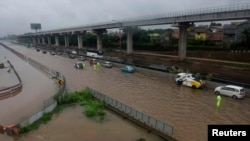 Banjir yang melanda Bekasi, Jawa Barat, 1 Januari 2020.