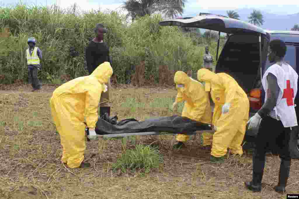 Health workers carry the body of an Ebola victim in the Waterloo district of Freetown, Sierra Leone, Oct. 21, 2014.