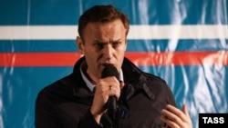 Алексей Навальный выступает перед своими сторонниками в Астрахани, 22 октября 2017 года
