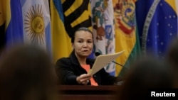 Venezuelan Linda Loaiza Lopez, victim of gender violence in 2001 in Venezuela, speaks at a hearing convened by judges of the Inter-American Court of Human Rights in San Jose, Costa Rica, Feb. 6, 2018.