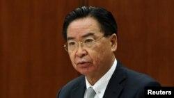 Bộ trưởng Ngoại giao Đài Loan Ngô Chiêu Tiếp dự một cuộc họp báo cho phóng viên nước ngoài ở Đài Bắc, Đài Loan, ngày 7 tháng 4, 2021.