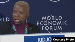 Musician and UNICEF Goodwill Ambassador Angelique Kidjo helped launch a new UNICEF education report at the 2015 World Economic Forum in Davos, Switzerland.