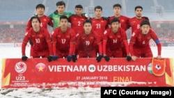 Đội tuyển U23 Việt Nam trước trận đấu chung kết Uzbekistan 27/1/2018.
