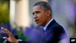 President Barack Obama speaking at the White House about problems with the implementation of the health care law.